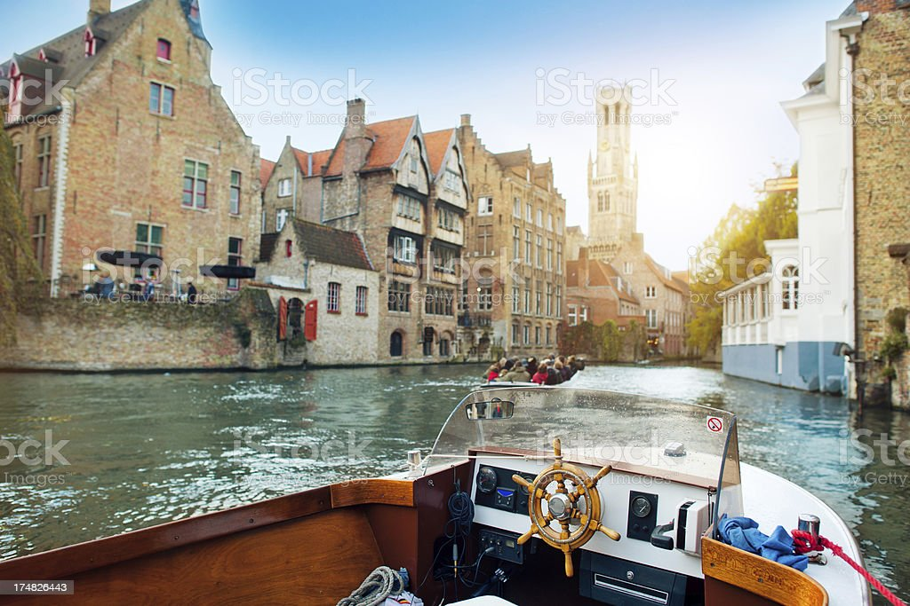 Tourboat in Bruges royalty-free stock photo