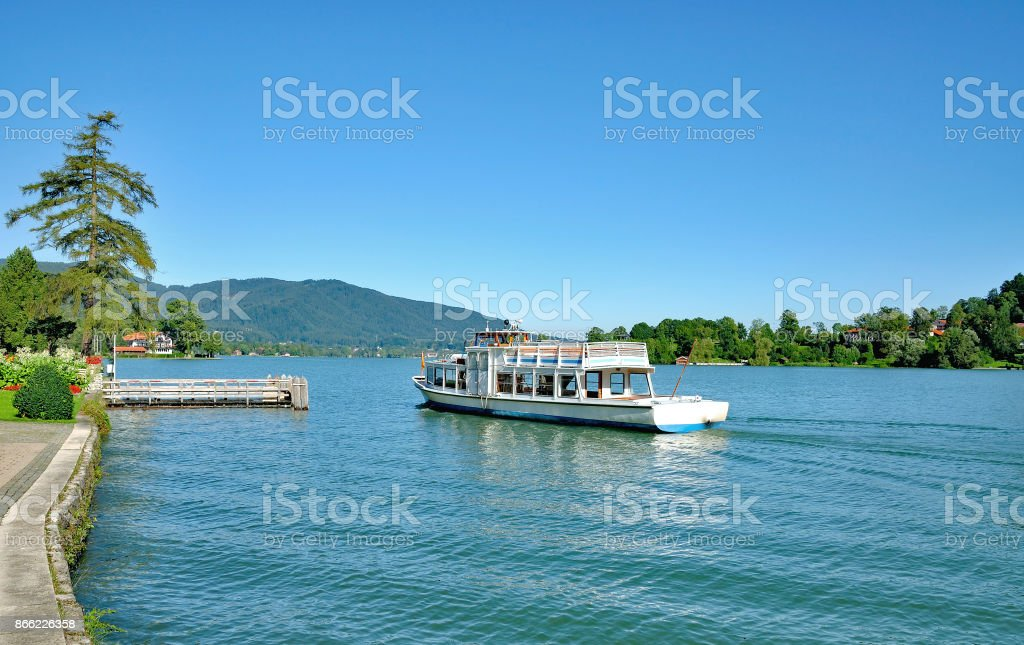 Tourboat in Rottach-Egern,Lake Tegernsee,Germany stock photo