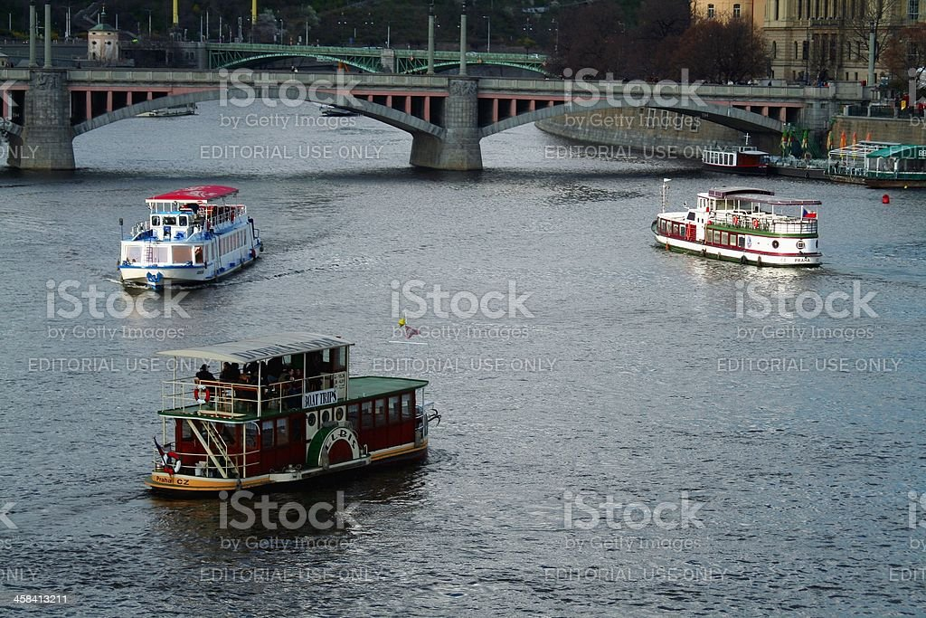 Tourboats on Vltava river royalty-free stock photo