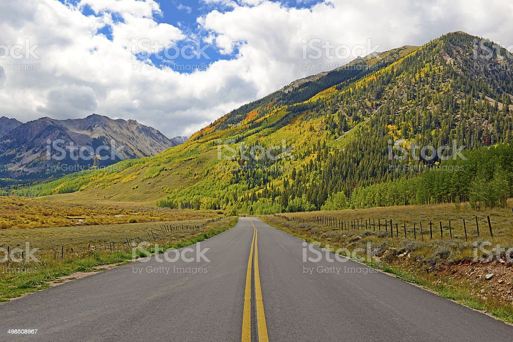 Touring America: Driving in the Rocky Mountains with Autumn Colors stock photo