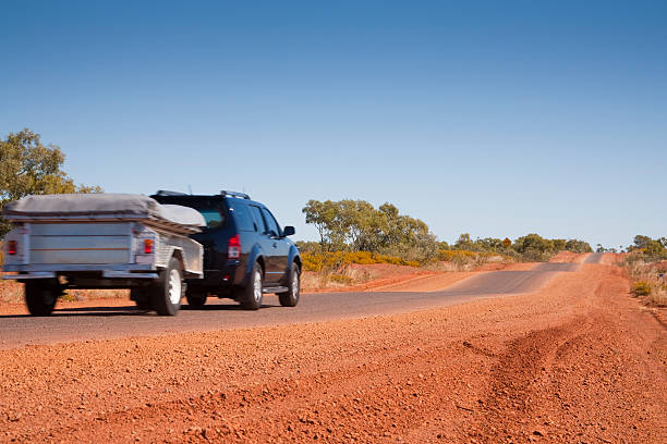 Touring in Outback Australia  vehicle trailer stock pictures, royalty-free photos & images