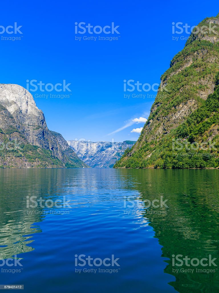 Tourism and travel. Mountains and fjord in Norway. stock photo