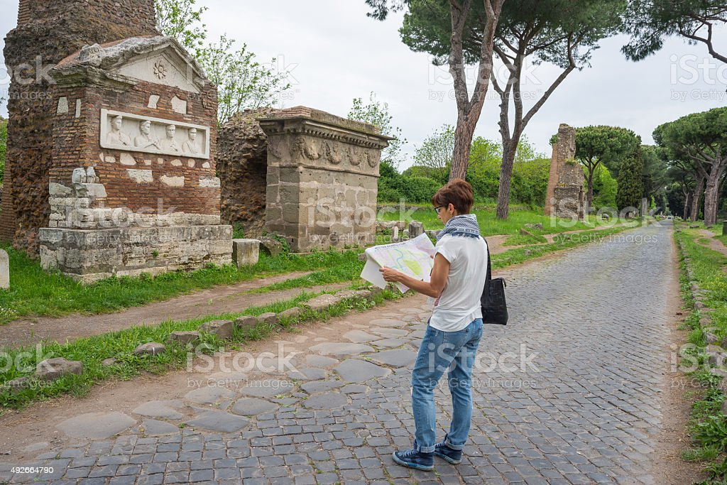 Tourism around Rome old town, Italy stock photo