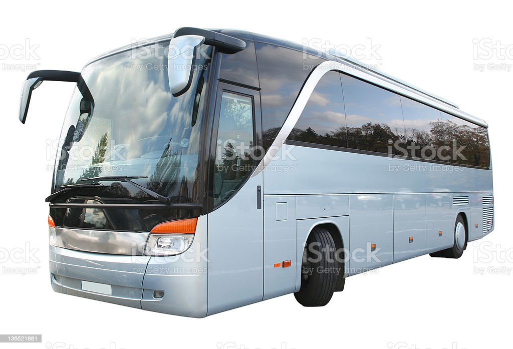 A tourism bus in grey and black royalty-free stock photo