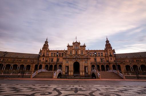 Tourism in the city of Seville, Plaza de España, Triana neighborhood, Rio Guadalquivir ...