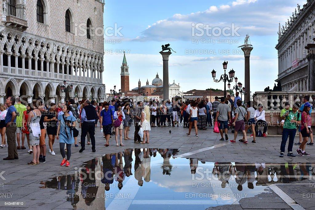 Tourism in Venice during 'Acqua Alta' stock photo