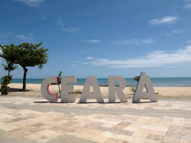 Tourism plate with inscription Ceara in large letters on the beachside in the city of Fortaleza, state of Ceara, Brazil stock photo