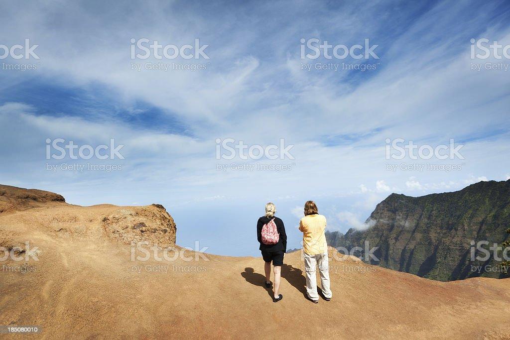 Tourist and Hiker at the Kalalau Lookout of Waimea Canyon stock photo