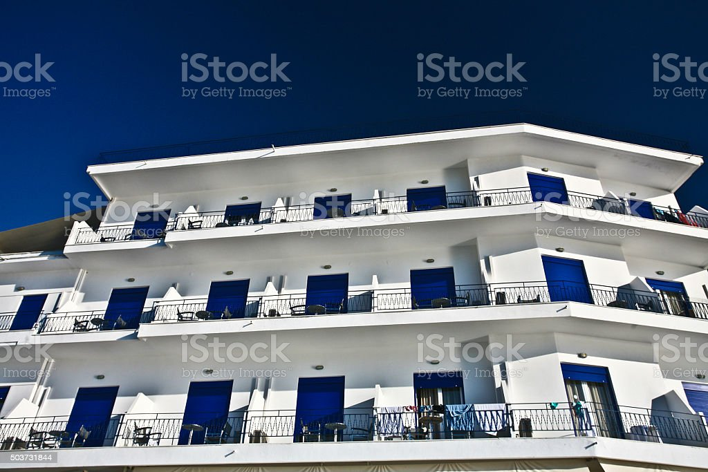 Tourist appartments in Peloponese in greece stock photo