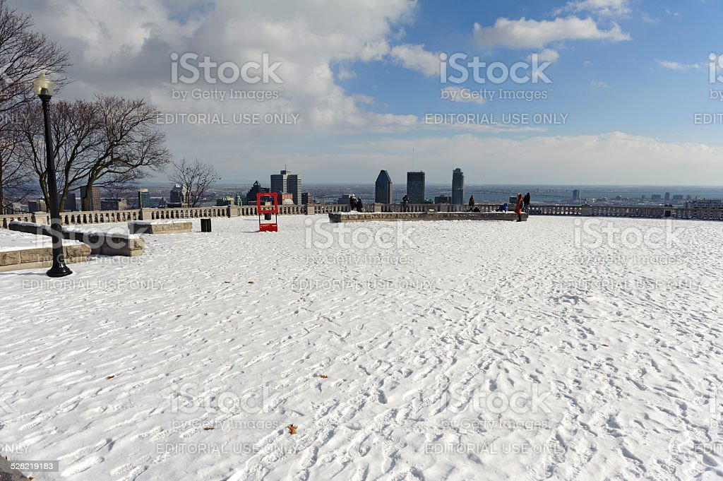tourist are looking at Montreal with the first snow stock photo