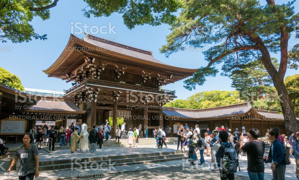 Tourist are taking picture of Meiji Shrine. royalty-free stock photo