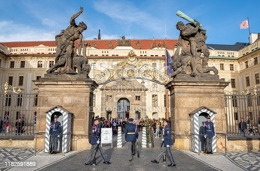 Prague , Czech Republic - September 29 , 2019: Prague Castle is a castle complex in Prague, Czech Republic, built in the 9th century. It is the official office of the President of the Czech Republic. The castle was a seat of power for kings of Bohemia, Holy Roman emperors, and presidents of Czechoslovakia.