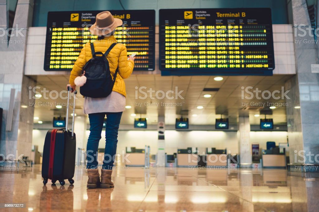 Tourist at Barcelona international airport stock photo
