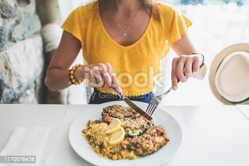 Woman in restaurant eating lunch