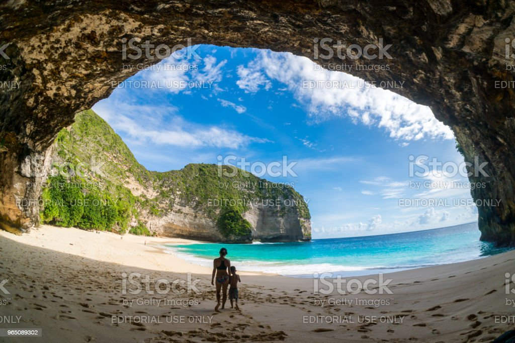 Tourist at Kelingking Beach Secret Point royalty-free stock photo