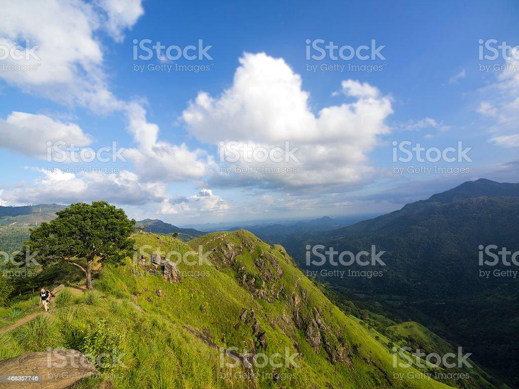 Tourist at Little Adam's Peak in Ella royalty-free stock photo