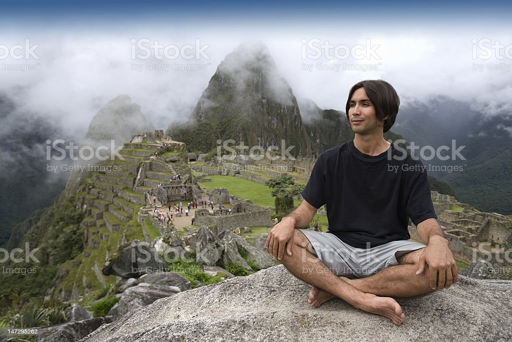 Tourist at Machu Picchu, Peru. royalty-free stock photo