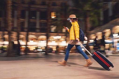 Tourist at Placa Reial,Barcelona