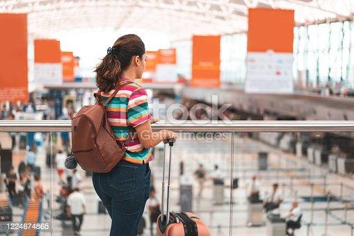 Woman, Waiting, Flight, Airport. Tourist