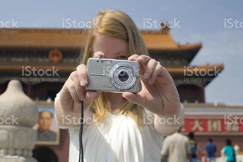 tourist at the forbidden city stock photo