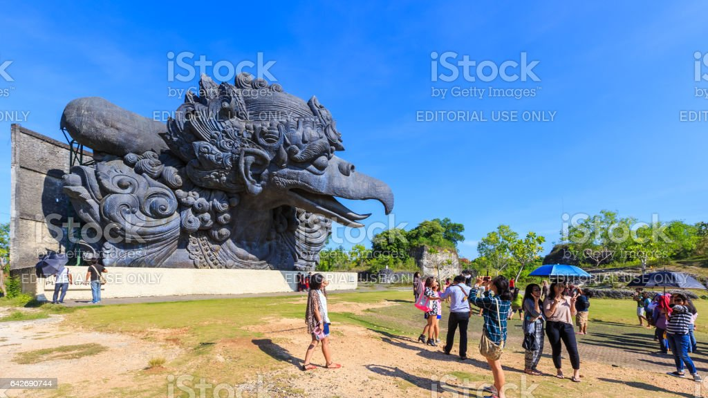 Tourist at the Garuda Wisnu Kencana Cultural Park stock photo