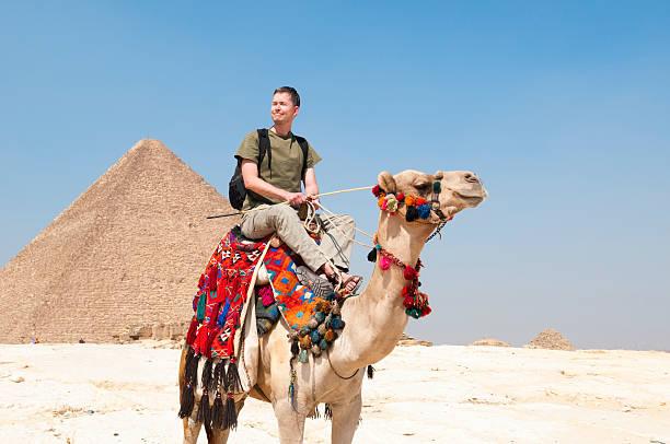 turista en las pirámides de giza - camello fotografías e imágenes de stock