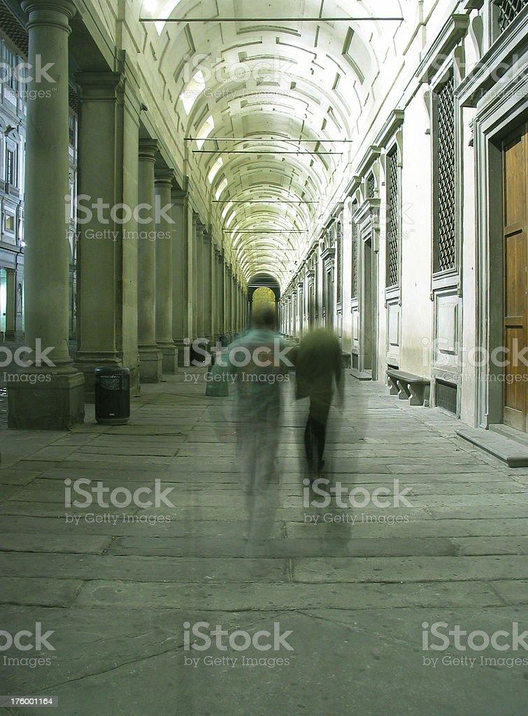 Tourist at the Uffizi stock photo