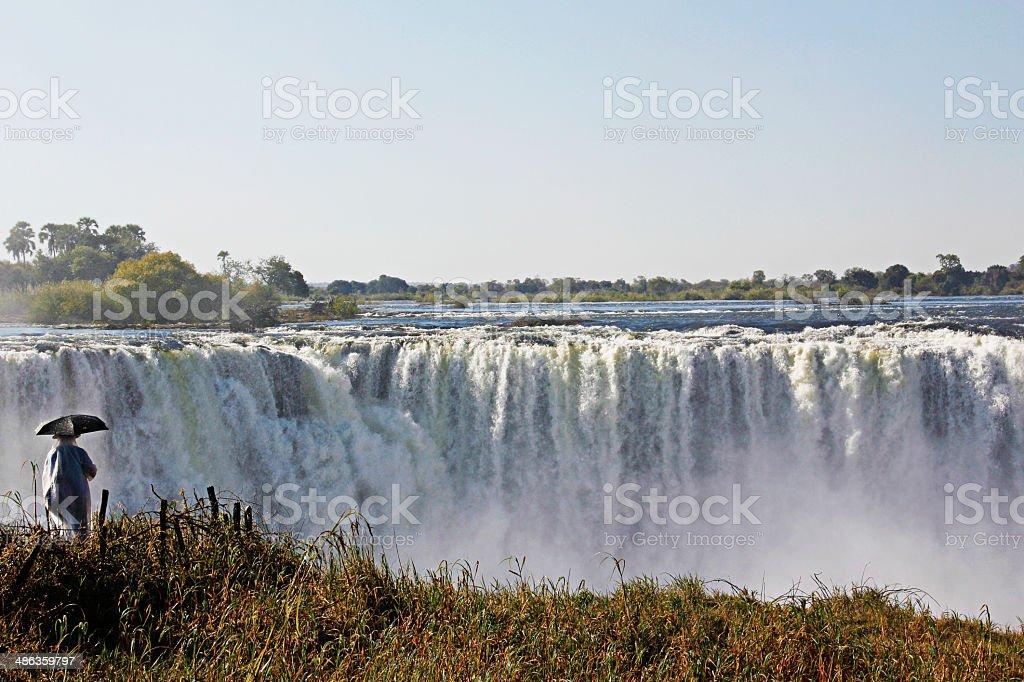 Tourist at the Victoria Falls stock photo