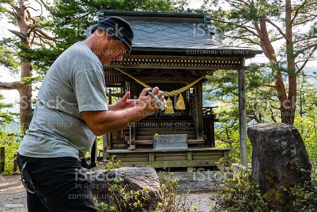Tourist at the view point of Shirakawa-go royalty-free stock photo