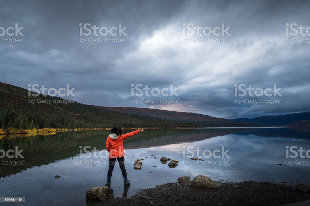 Tourist at Wonder Lake, Denali National Park stock photo