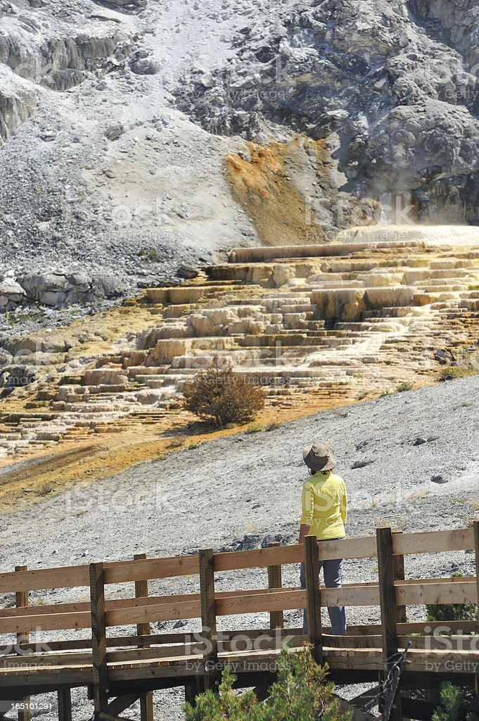 Tourist at Yellowstone stock photo