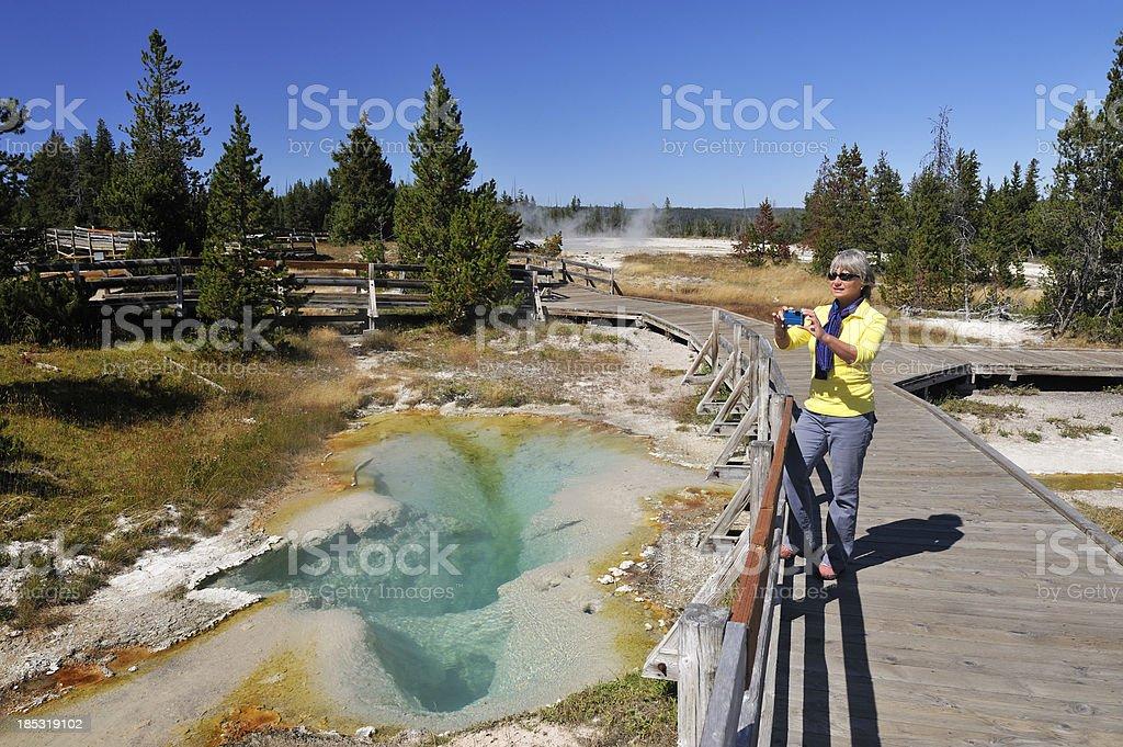 Tourist at Yellowstone stock photo