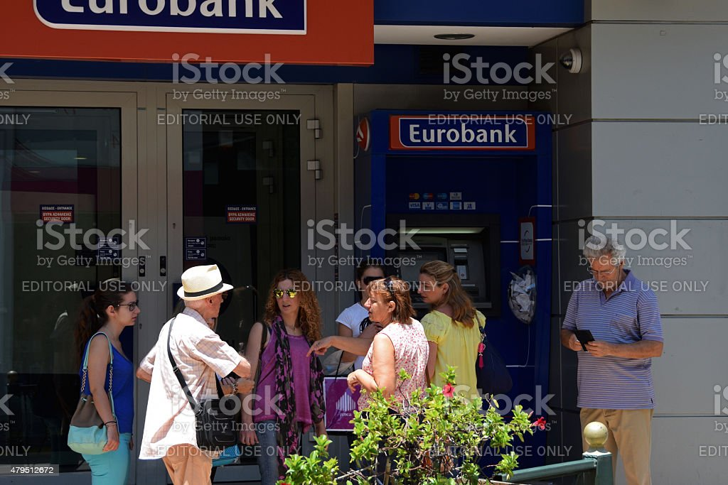 tourist atm machine greece stock photo