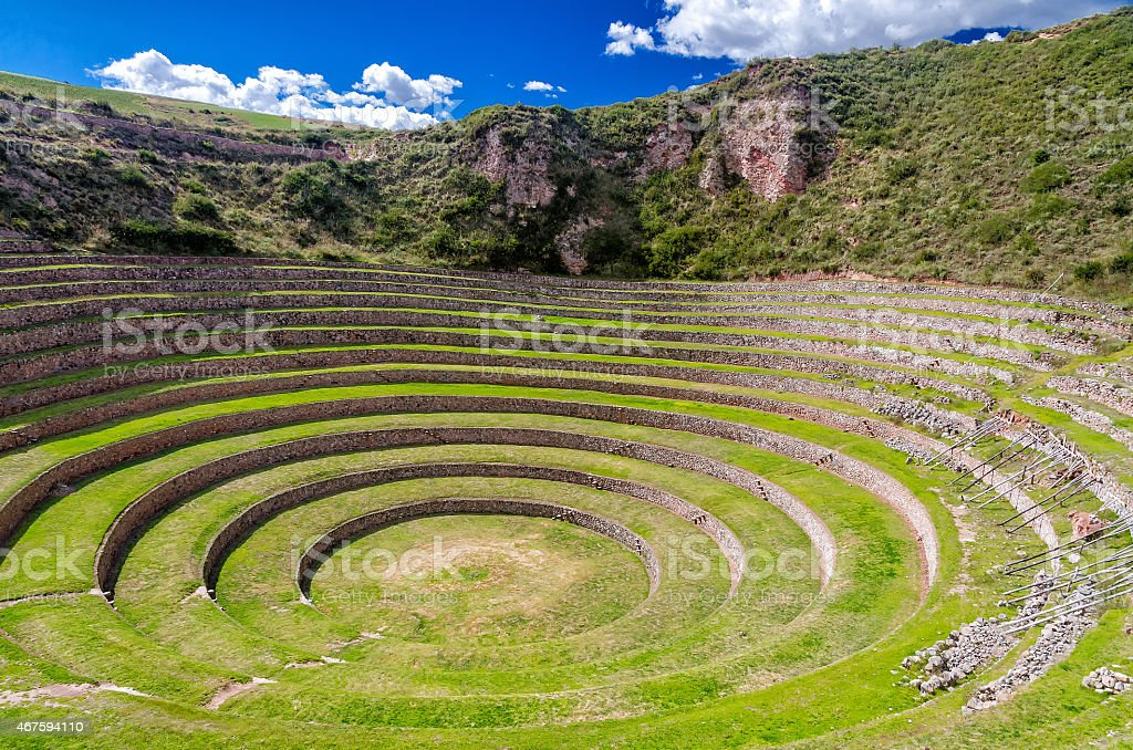 Tourist attraction of Moray in Peru stock photo