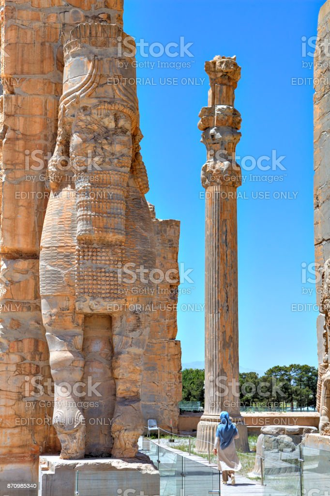 Tourist attraction of Shiraz, ruins of ancient Persepolis city, Iran. stock photo