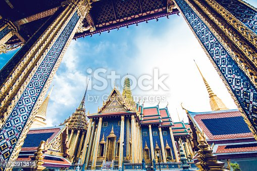 Tourist Attraction: Sculpture Grand palace also called Wat Phra Kaew in Bangkok, Thailand