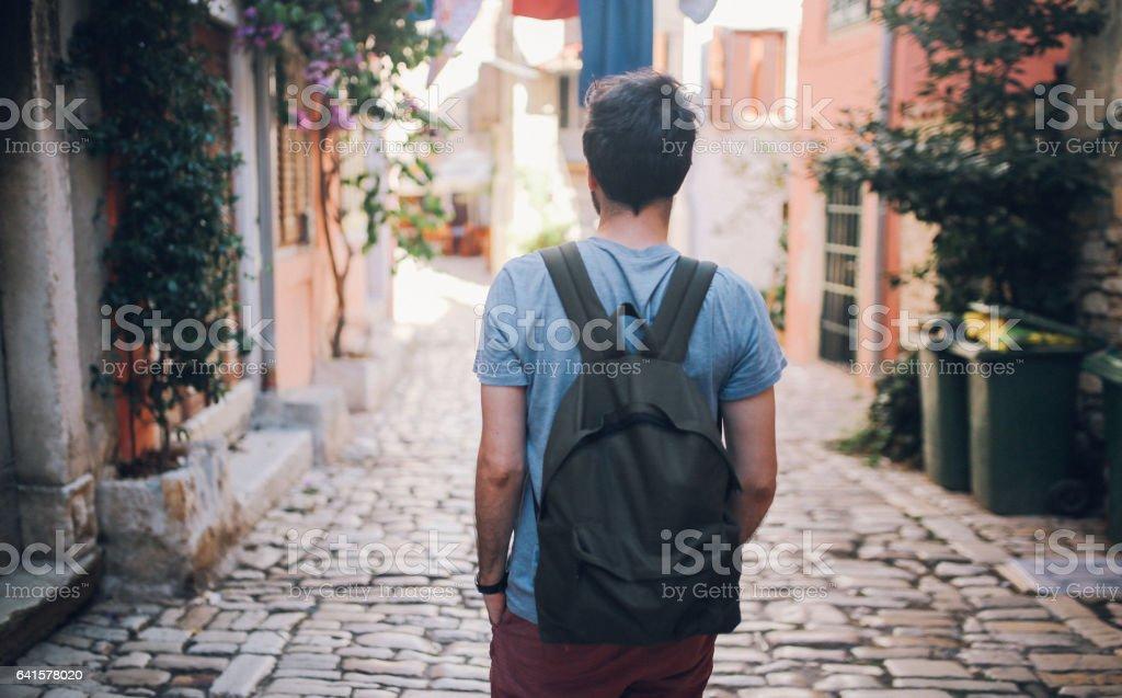Touristischen Backpacker Reisen in Rovinj – Foto