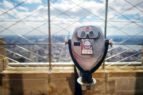 Tourist binoculars at the top of the Empire State Building in New York stock photo