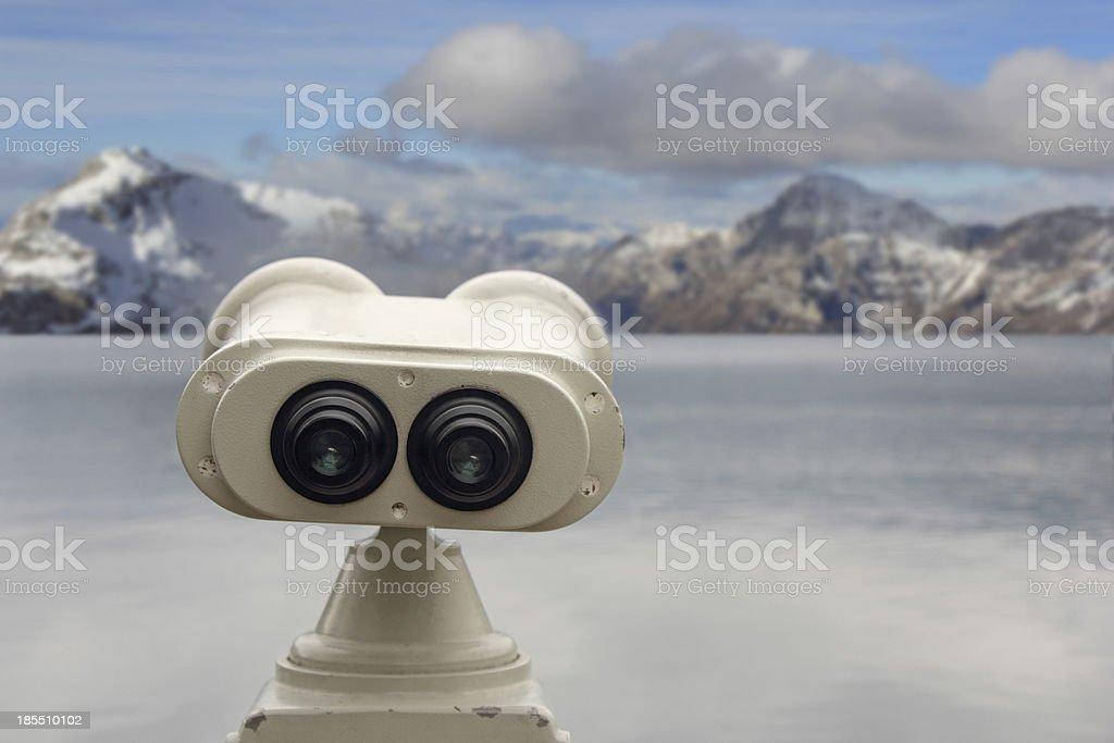Tourist binoculars stock photo