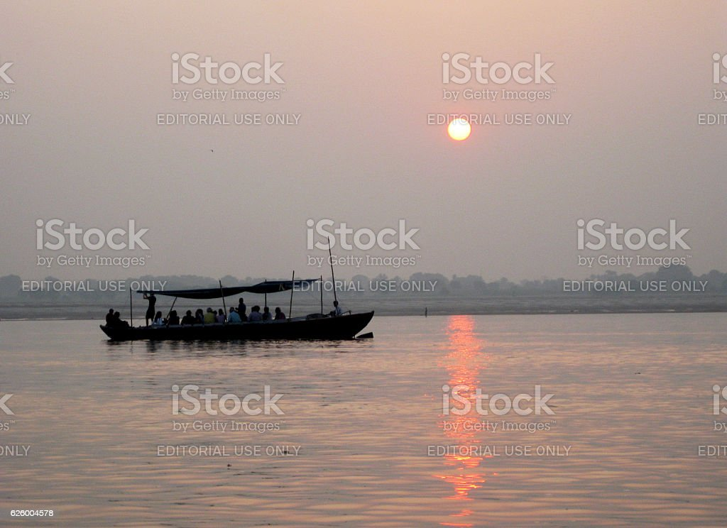 Tourist boat at the Ganges river stock photo