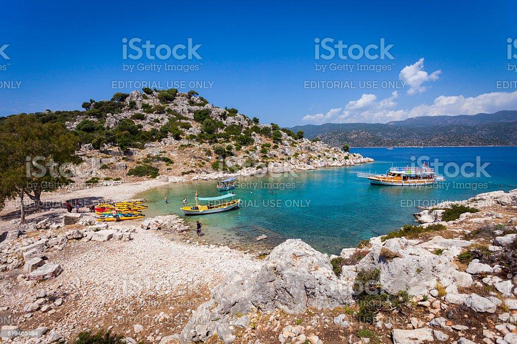 Tourist boat in Kekova, Turkey stok fotoğrafı