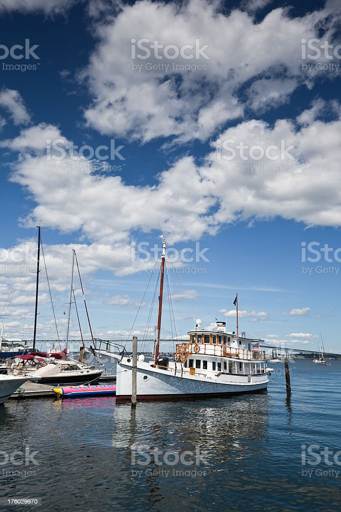 Tourist Boat in the Narragansett Bay stock photo