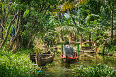 Alleppey, India - January, 29, 2016: Small tourist boat on beautiful backwaters landscape with palm trees on background, Kerala, India