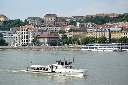 Tourist Boat On The River Danube Budapest Hungary Stock
