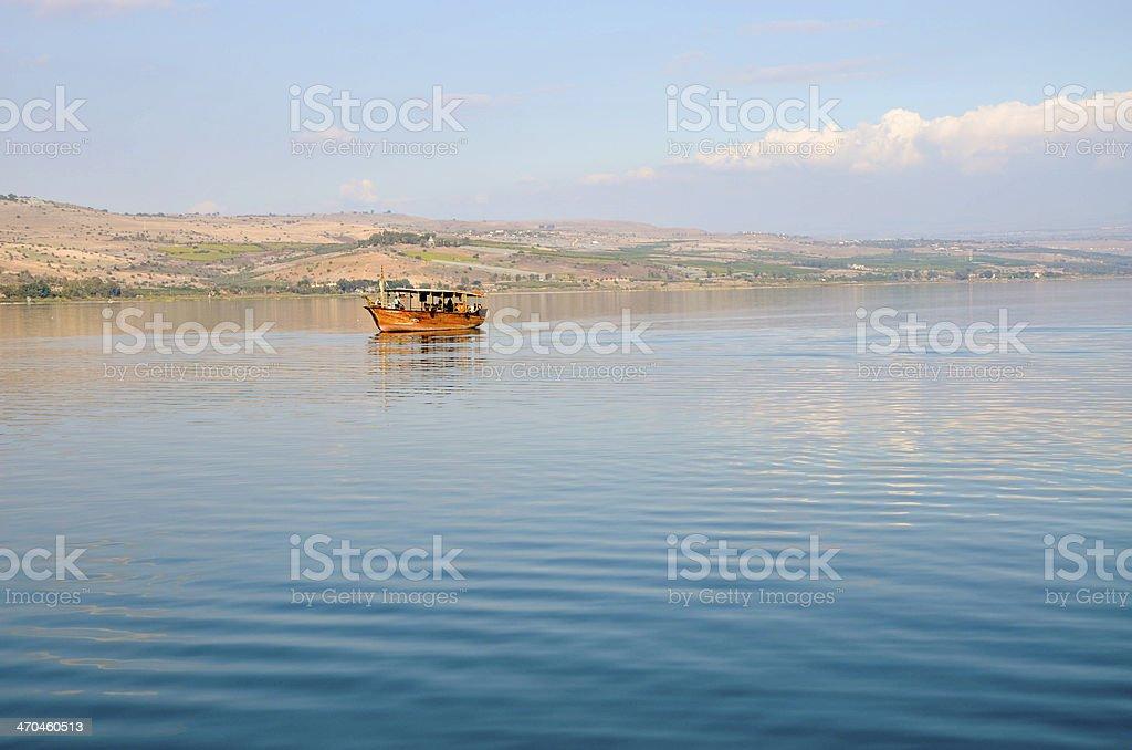 Tourist boat on the sea of galilea royalty-free stock photo