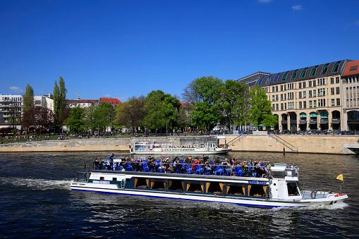 tourist boat on the Spree river in Berlin