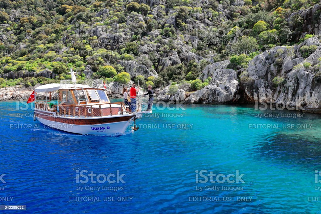 Tourist boat sailing the Kekova island sunken ruins. Lycia-Turkey. 1064 stok fotoğrafı