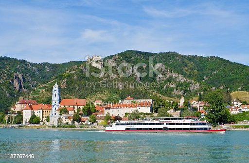 Dürnstein, Austria - August 12th 2018: The passenger ship (MS Dürnstein of the Company DDSG Blue Danube GmbH) on the Danube. The ship leaves the pier of the city Dürnstein and is downstream on the way towards Krems.