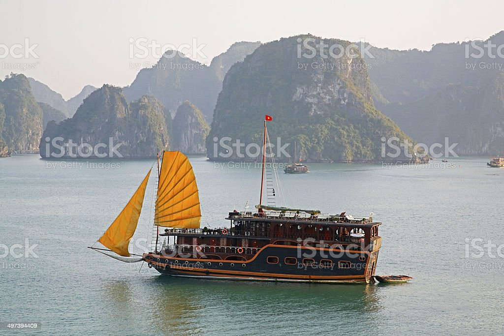 Tourist Boat with Sails in Halong Bay royalty-free stock photo