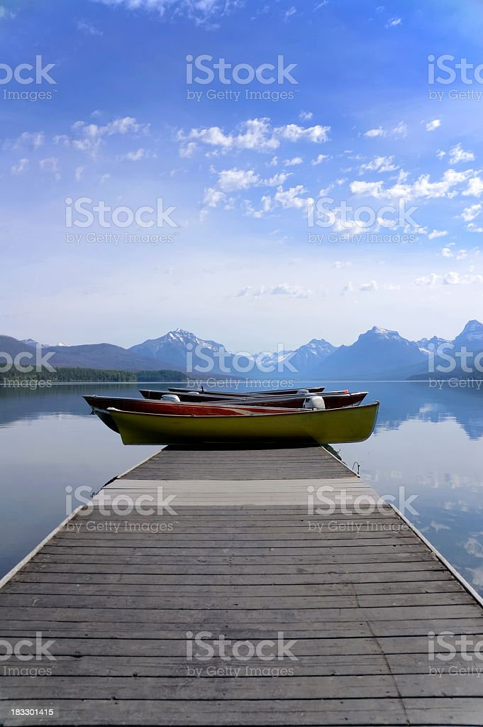 Tourist Boats At Lake McDonald Glacier National Park royalty-free stock photo